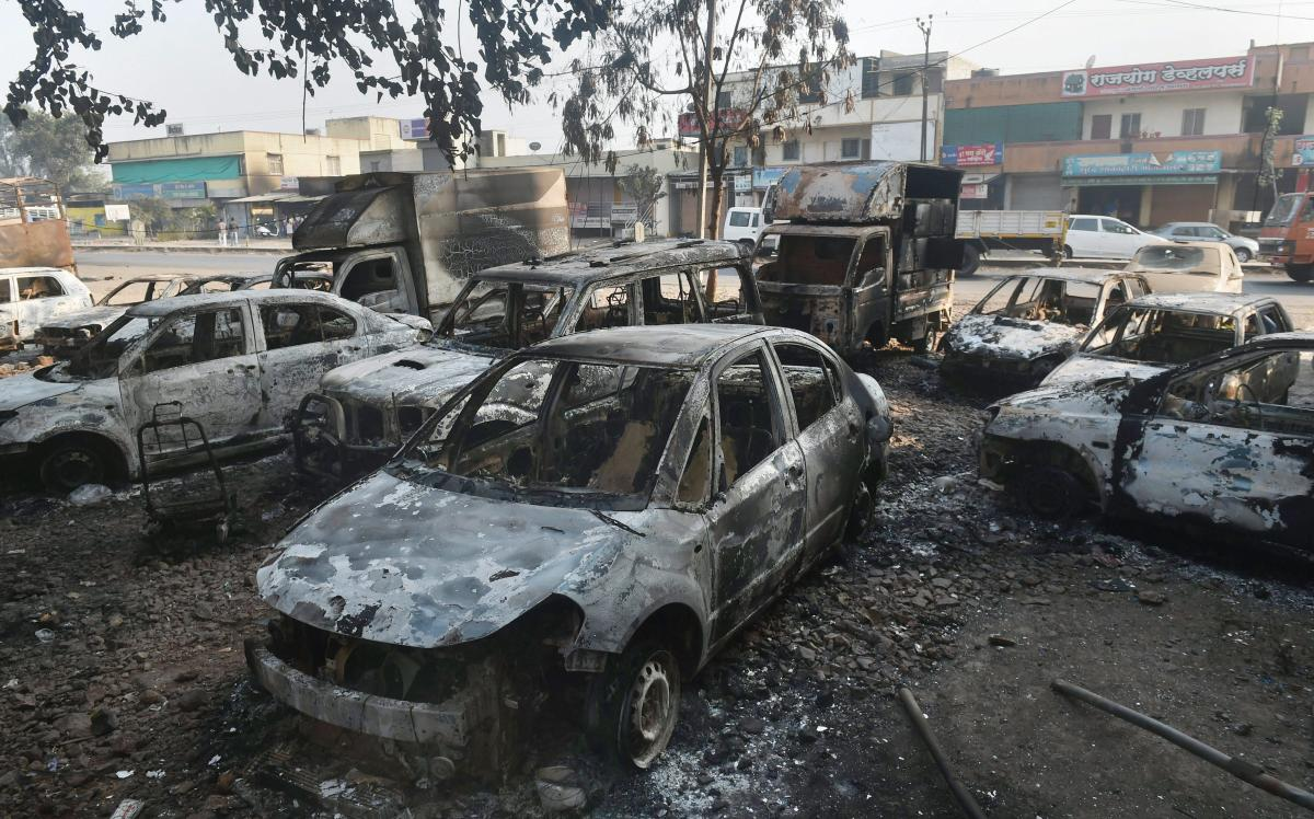 Charred vehicles following the violence during celebrations of 200th anniversary of the Battle of Bhima Koregaon, near Pune on Tuesday. (PTI File Photo)