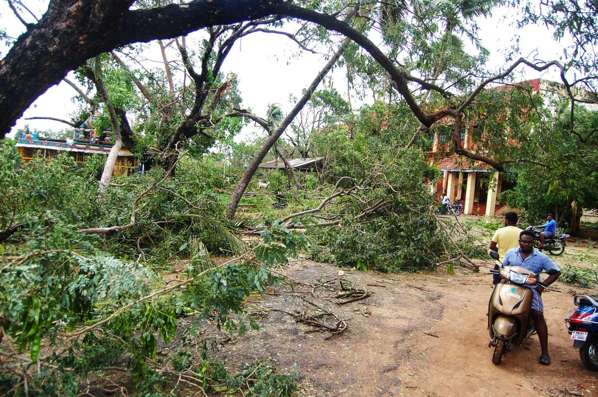 A view of the damage caused by cyclone 'Gaja', after it hit Velankanni, in Nagapattinam district of Tamil Nadu, Friday, Nov. 16, 2018. The Centre Friday assured the Tamil Nadu government of all assistance to deal with the situation arising out of this sto