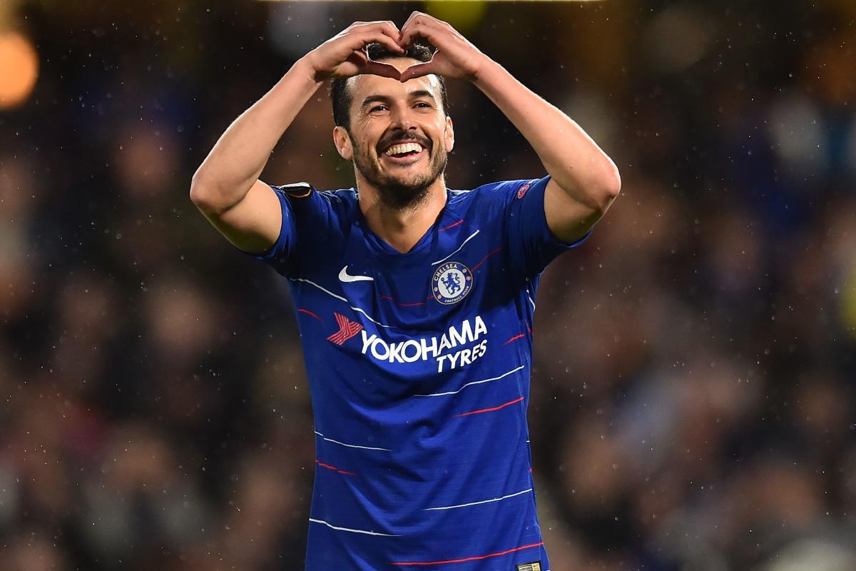 Chelsea's Pedro celebrates after scoring against Dynamo Kiev.