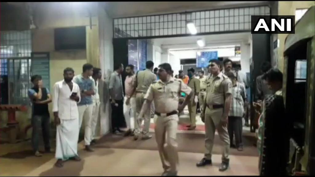 Police at the hospital where the Youth Congress workers' bodies were taken. ANI/Twitter