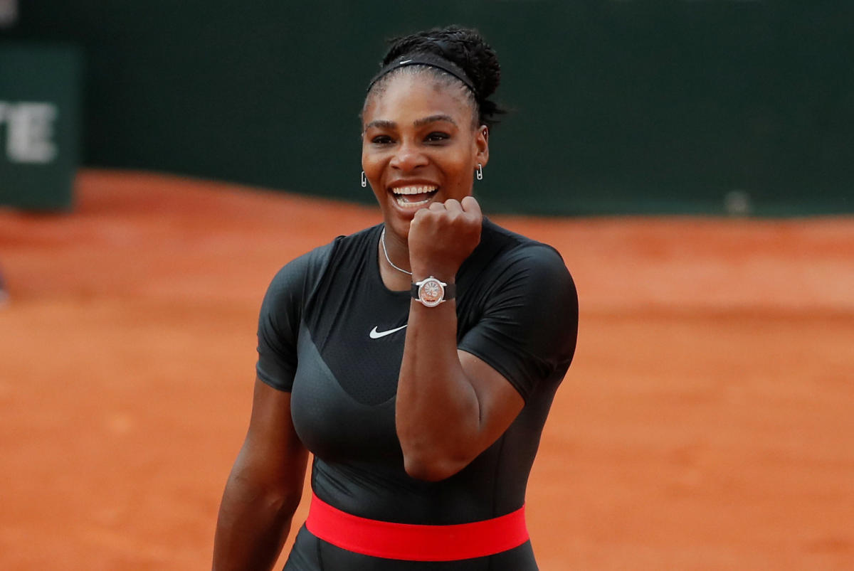 Serena Williams of the U S celebrates after winning her third round match against Germany's Julia Goerges. Reuters
