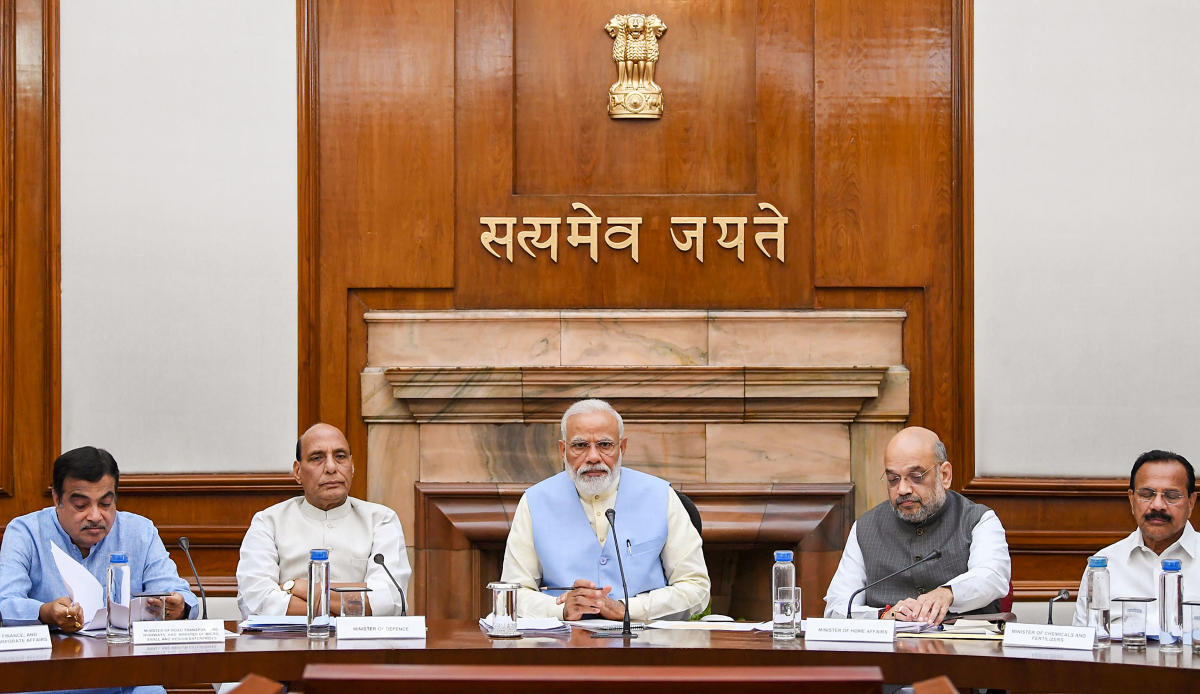 Prime Minister Narendra Modi with Union Ministers Nitin Gadkari, Rajnath Singh, Amit Shah and others during the first cabinet meeting, at the Prime Minister's Office, in South Block, New Delhi, May 31, 2019. PTI photo
