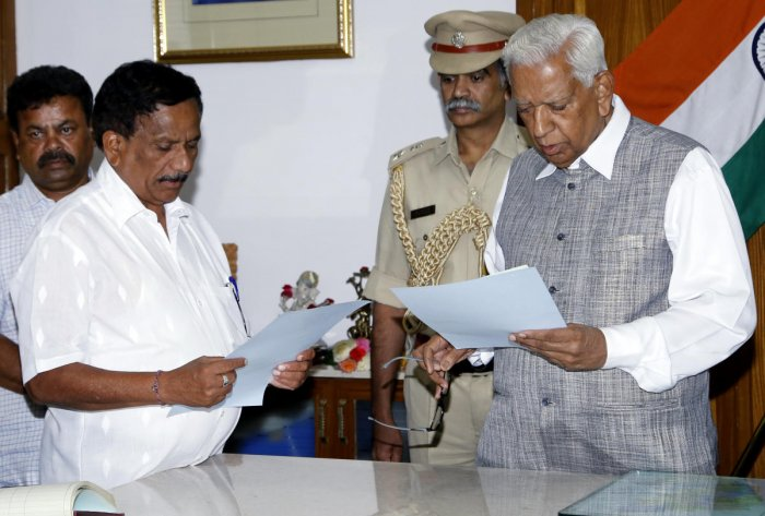 Governor Vajubhai Vala appointed Bopaiah, a four-term MLA as the pro-tem Speaker of the 15th Assembly to preside over the proceedings of oath-taking of newly elected members and subsequently a floor test on May 18, 2018 in the House. (DH Photo)