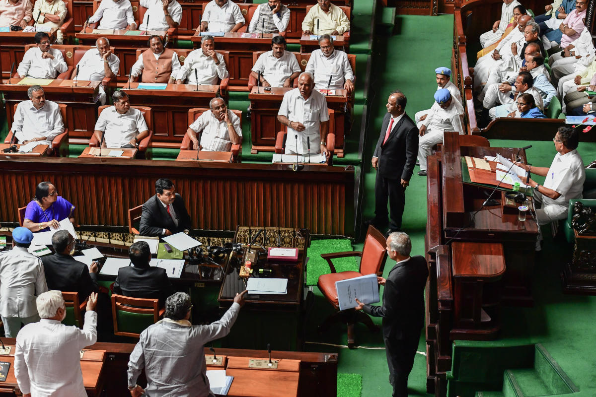 Then chief minister BS Yeddyurappa made a speech in the House of Commons on May 26, 2018. (DH Photo)