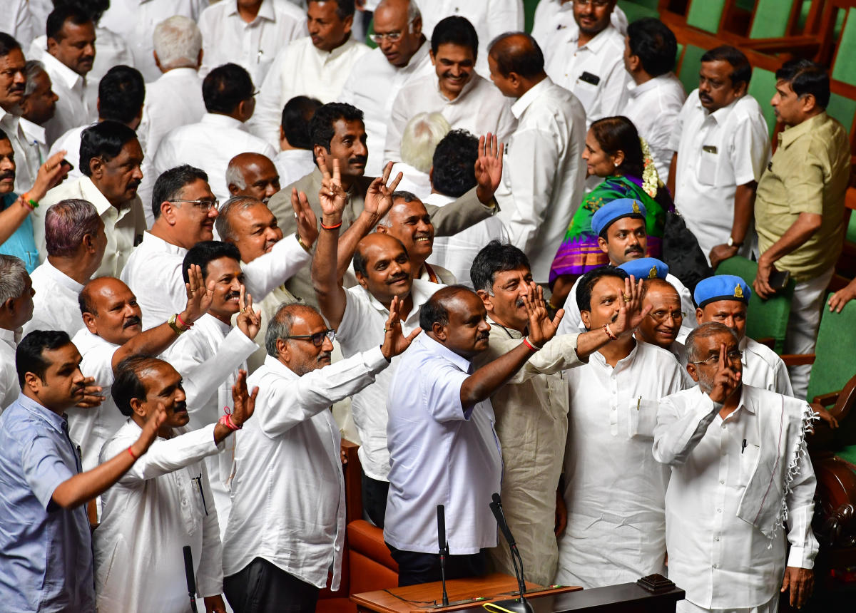 Chief Minister Kumaraswamy and DK Shivakumar and the ruling party, after the JDS-Congress coalition government had declared a majority in the Assembly on May 25, 2018.