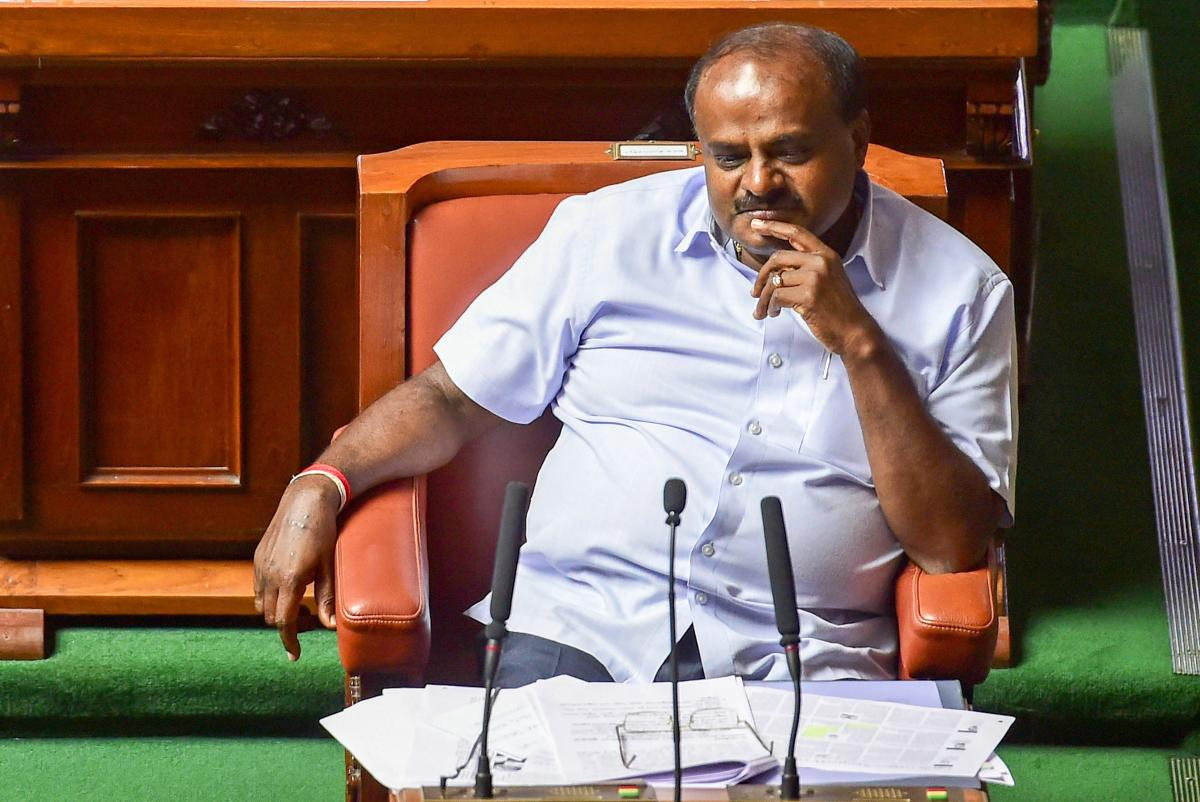 Bengaluru: Karnataka Chief Minister H D Kumaraswamy during the trust vote, at Vidhana Soudha in Bengaluru, on May 25, 2018. (PTI)