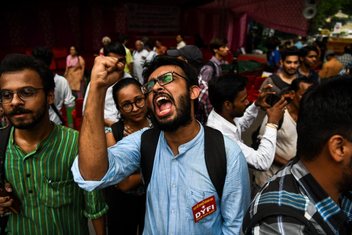 Protesters from various Left organisations shout slogans as they protest against the detention of human rights activists under the Unlawful Activities Prevention Act (UAPA) in New Delhi on August 30. AFP