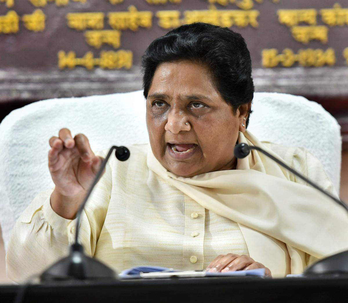 """The BSP chief also said that instances of mob lynching in the name of cow protection were a """"blot on democracy"""" and accused BJP governments in various states of being indifferent to the problem. (PTI Photo)"""