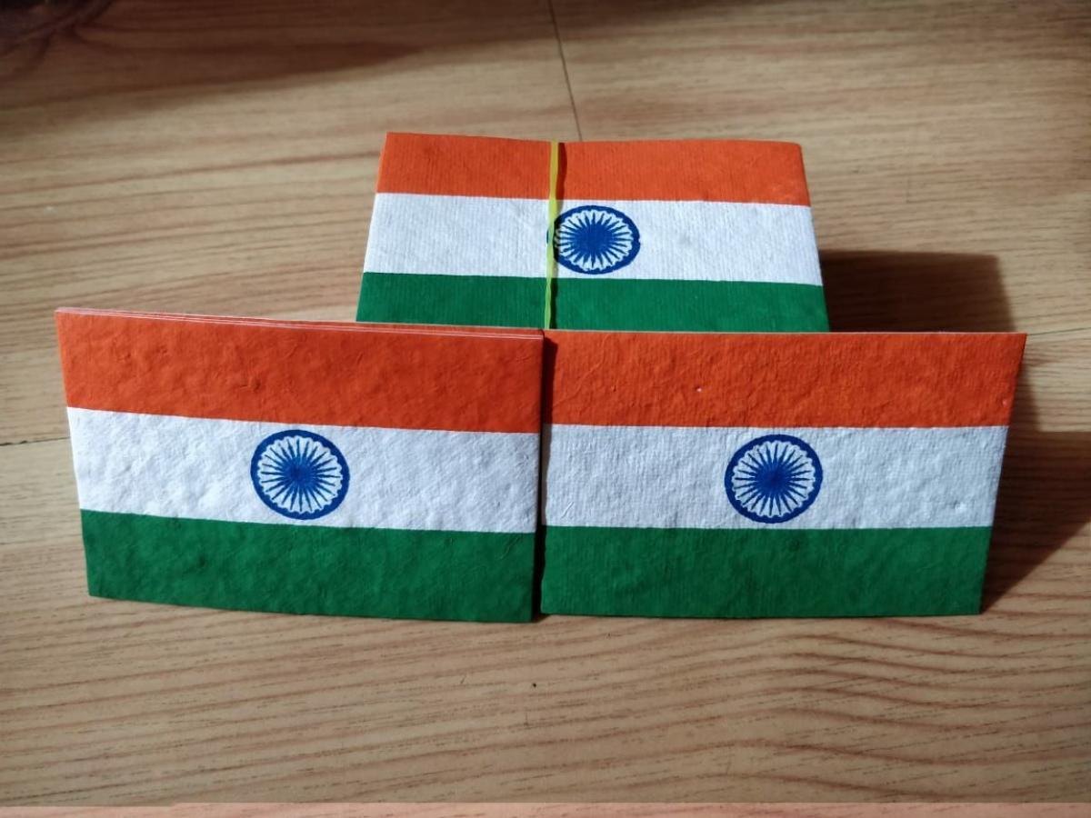 Seed flag to replace plastic flag on the occasion of Independence Day
