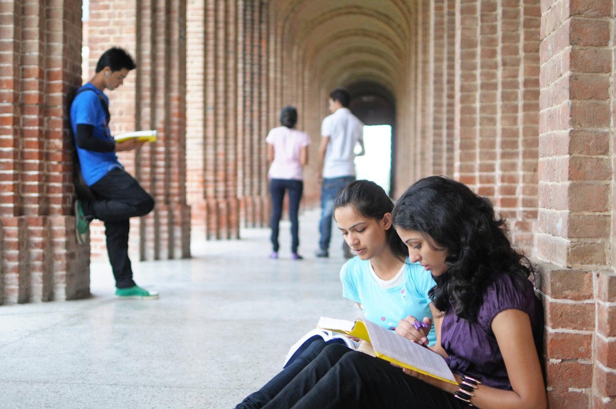 Students studying for exam.