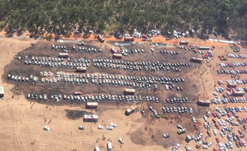 Aerial shot by the pilot flying over the parking lot at Gate-5 where over 300 cars were burnt to ashes at Aero India 2019, Bengaluru. (Pic Courtesy: Officer Commanding - HQ, Civil Defence)