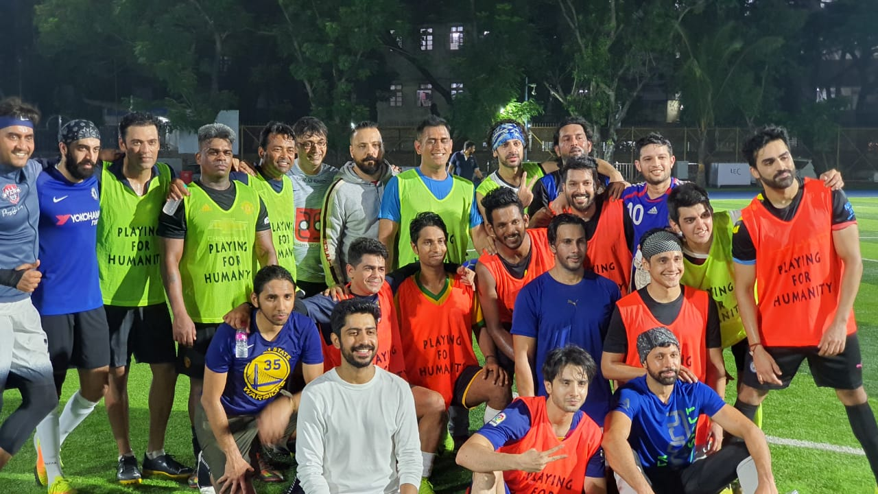 Dhoni, Leander Paes spotted playing football together