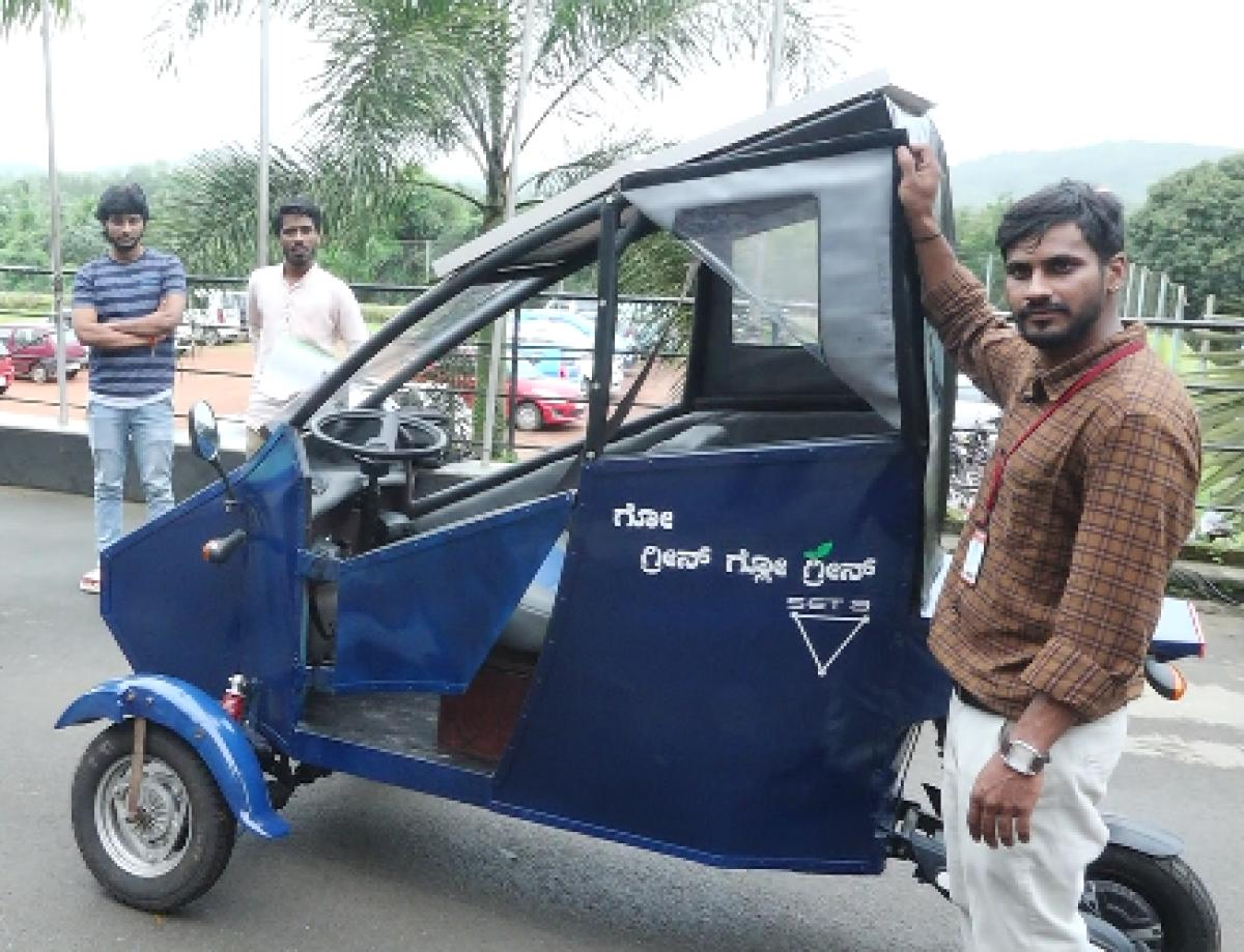 Byre Gowda. G with his Solar vehicle