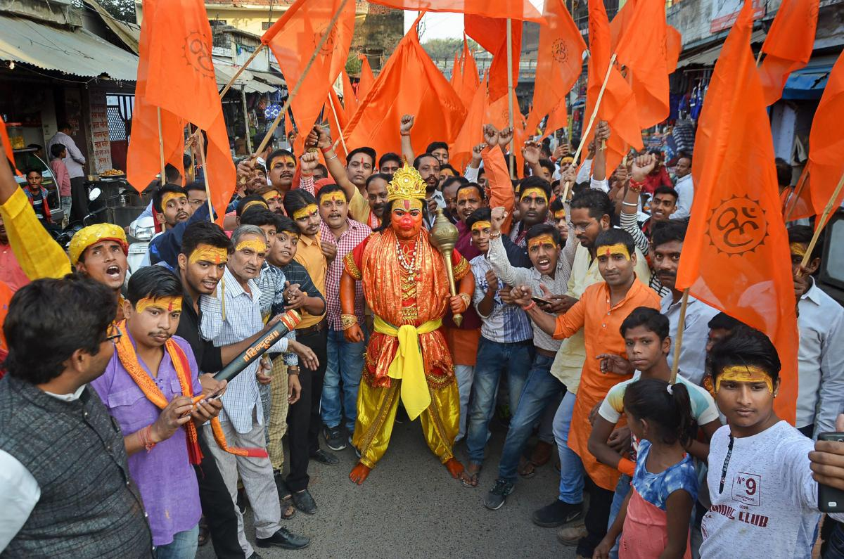 VHP activists participate in a procession rally to make a call for their November 25 Vishal Dharm Sabha in Ayodhya, in Mirzapur on November 20. PTI