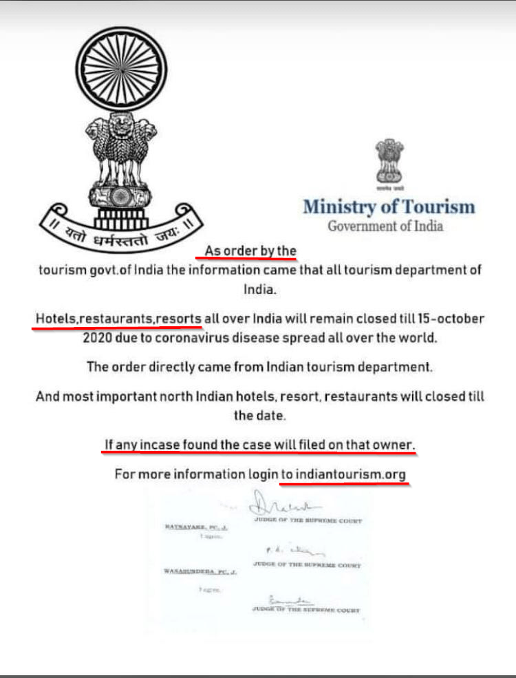 Fact Check Fake Order Attributed To Tourism Ministry Claims