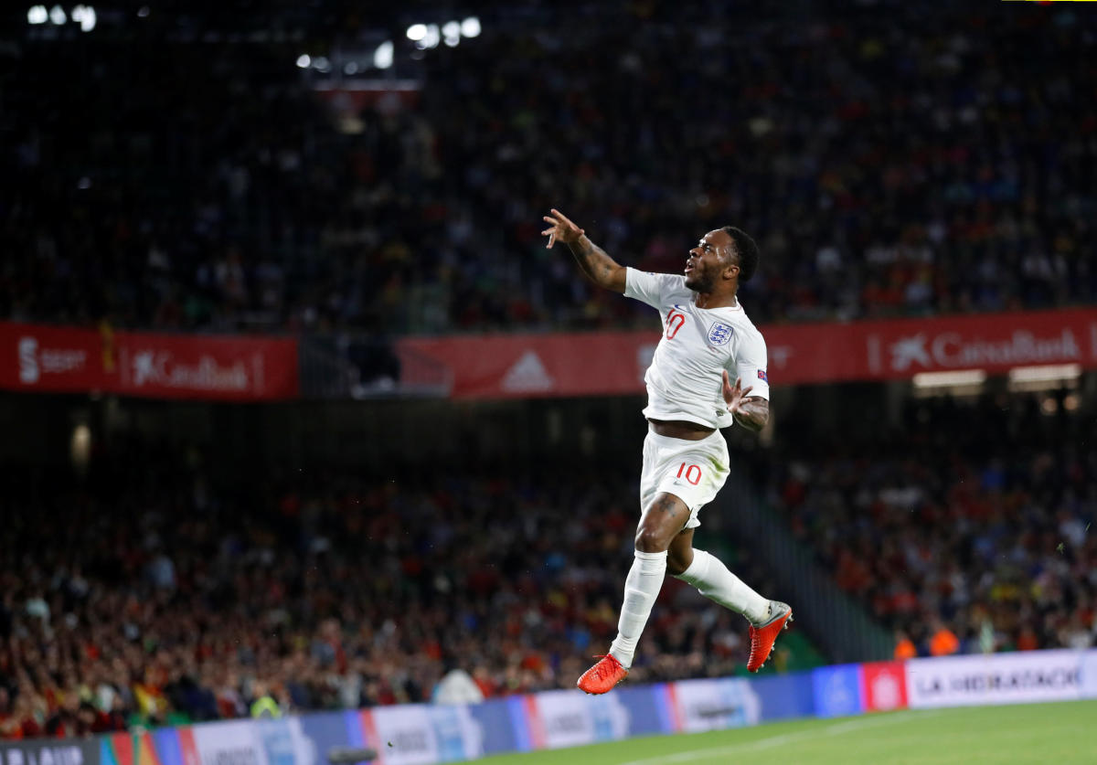 England's Raheem Sterling celebrates after scoring against Spain on Monday. Reuters