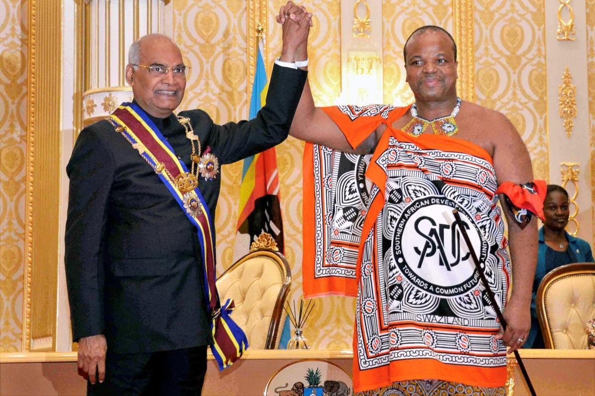 Swaziland King Mswati III (R) seen greeting Indian President Ram Nath Kovind (L) during the latter's visit to the Lozitha Palace in Swaziland, Shikhuphe. King Mswati III on Thursday said that he was officially renaming the country as the Kingdom of eSwatini. PTI file photo