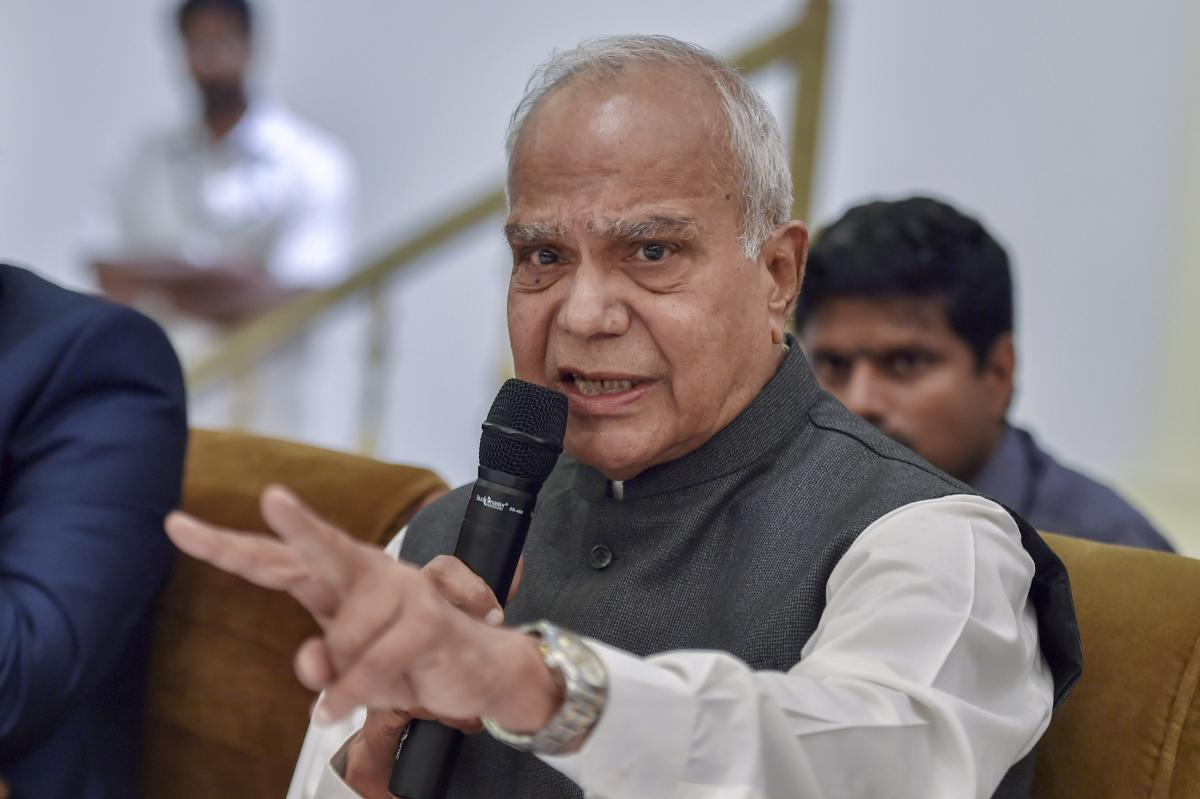 Tamil Nadu Governor Banwarilal Purohit addresses media on various issues in Chennai on Tuesday. PTI