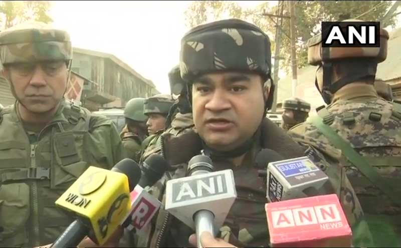 On specific info, we launched search operation along with 15 RR & CRPF. 2 militants killed. People are pelting stones. We are requesting them not to come near site so that we can clear the explosives which generally remain with militants: V K Birdi, DIG, Central Kashmir. ANI Photo.
