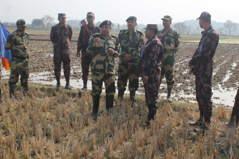 BSF personnel at India-Bangladesh border near Agartala on Sunday. (Photo by Pranab Shil)