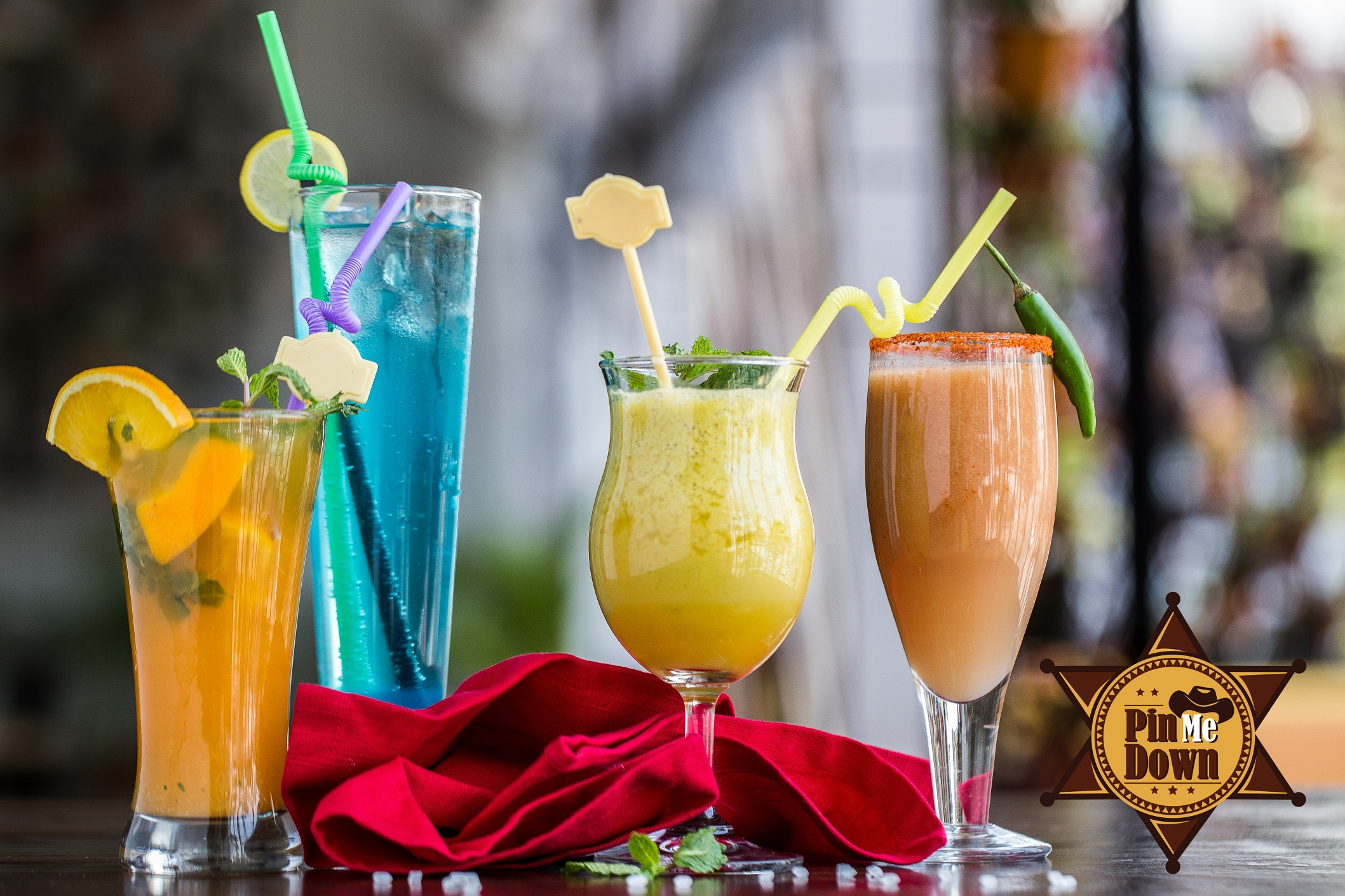 An array of drinks.