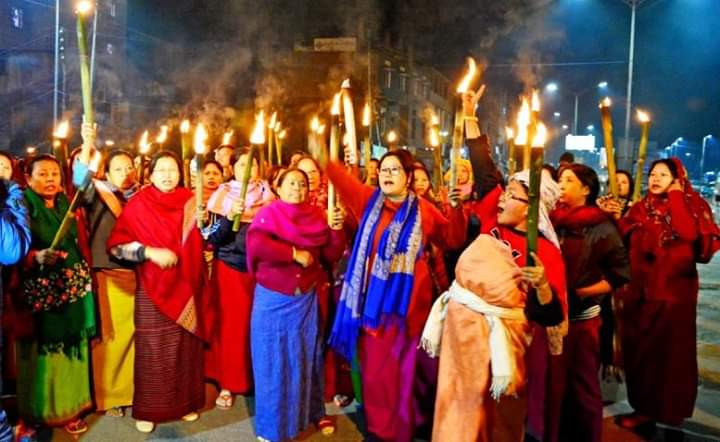 Photo: Manipuri women protest against the Citizenship (Amendment) Bill in Imphal on Tuesday.DH photo