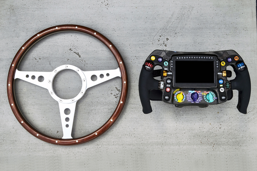 An old Mercedes F1 steering wheel and a modern one. Picture credit: Mercedes AMG F1