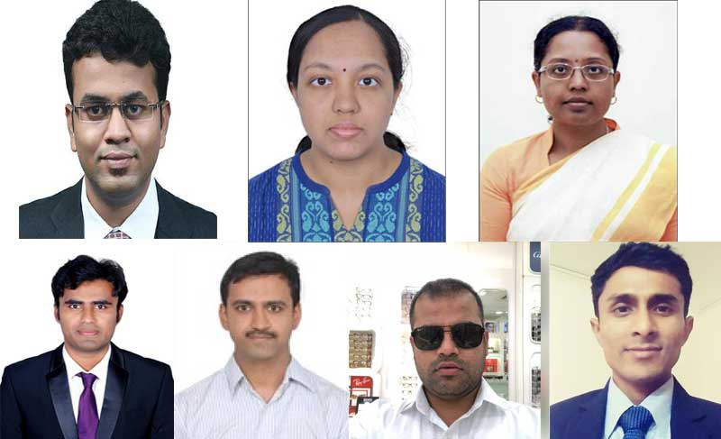 Clockwise from top left: Rahul Shinde (95), Swetha M (119), Dr T Shubhamangala (145), Venketeshnayak (930), Sachin K (652), Sudarshan Bhat (434) and Siddalinga Reddy (346)