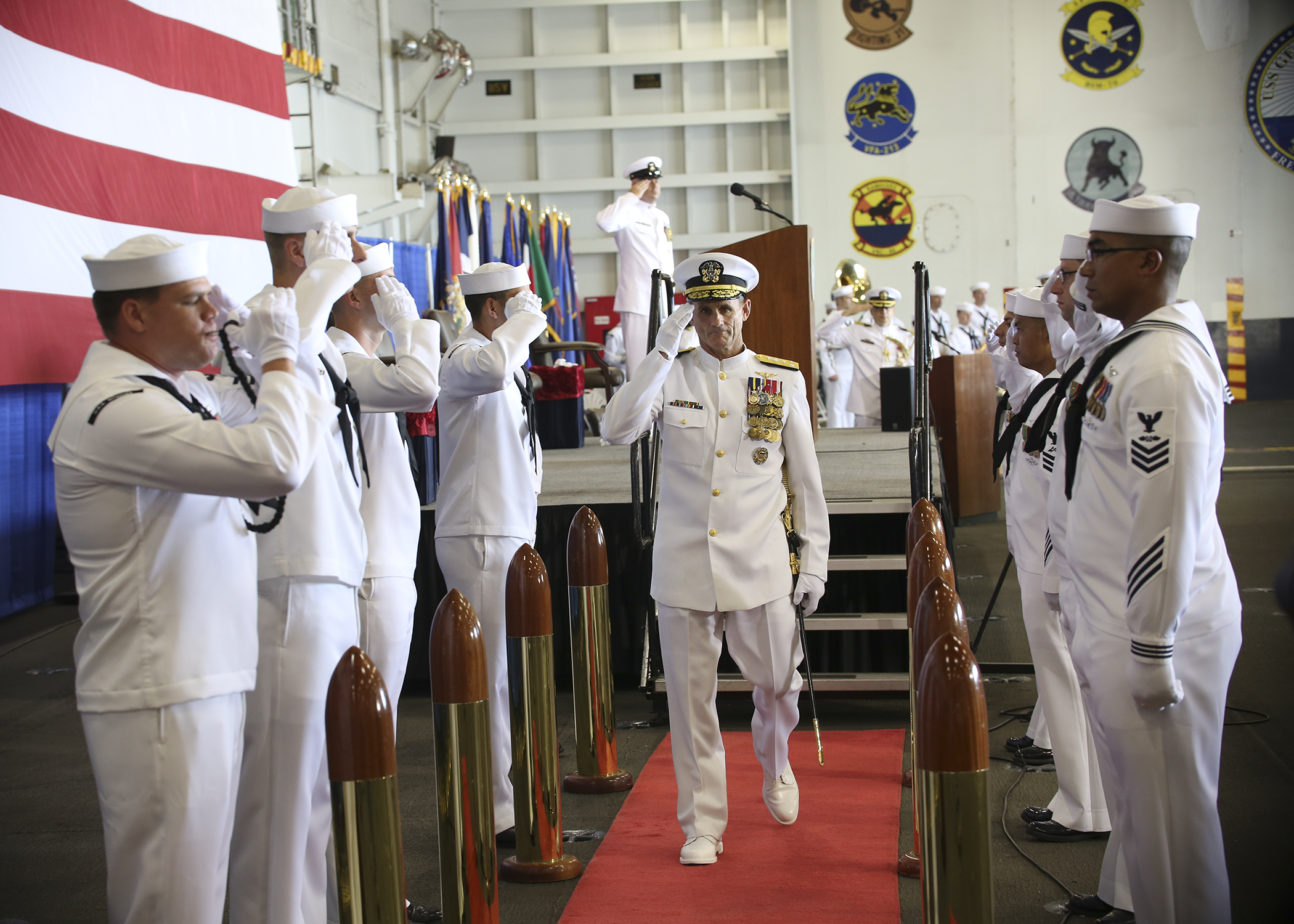 """US Vice Adm Andrew """"Woody"""" Lewis takes part in ceremonial opening of the US Navy 2nd Fleet aboard the nuclear aircraft carrier USS George H W Bush (CVN 77) on August 24, 2018. US Navy"""