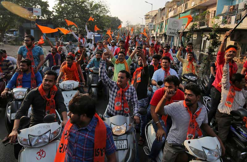Supporters of the Vishva Hindu Parishad (VHP), shout slogans during a rally demanding the construction of the Ram temple in Ayodhya. (Reuters Photo)