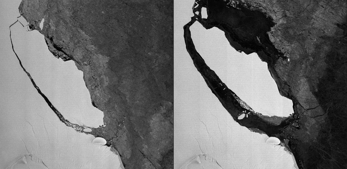(COMBO) This combination of pictures created on September 27, 2017 shows a sattelite photo acquired by the radar TerraSAR-X satellite on August 1, 2017 and handout by Airbus Defence and Space's on September 27, 2017 showing the giant iceberg A68 detaching