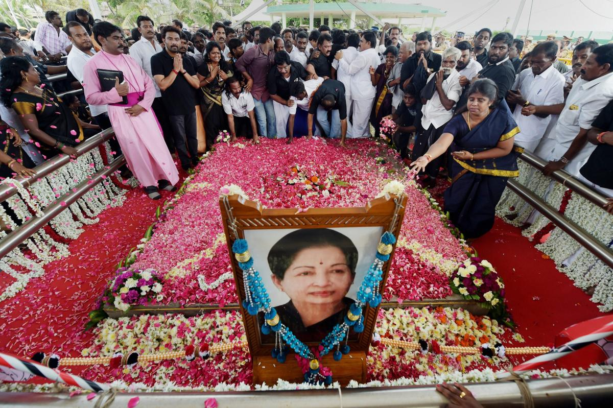 People paying their respects to the late AIADMK supremo and former Chief Minister J Jayalalithaa on her first death anniversary at her memorial in Chennai. (PTI Photo)