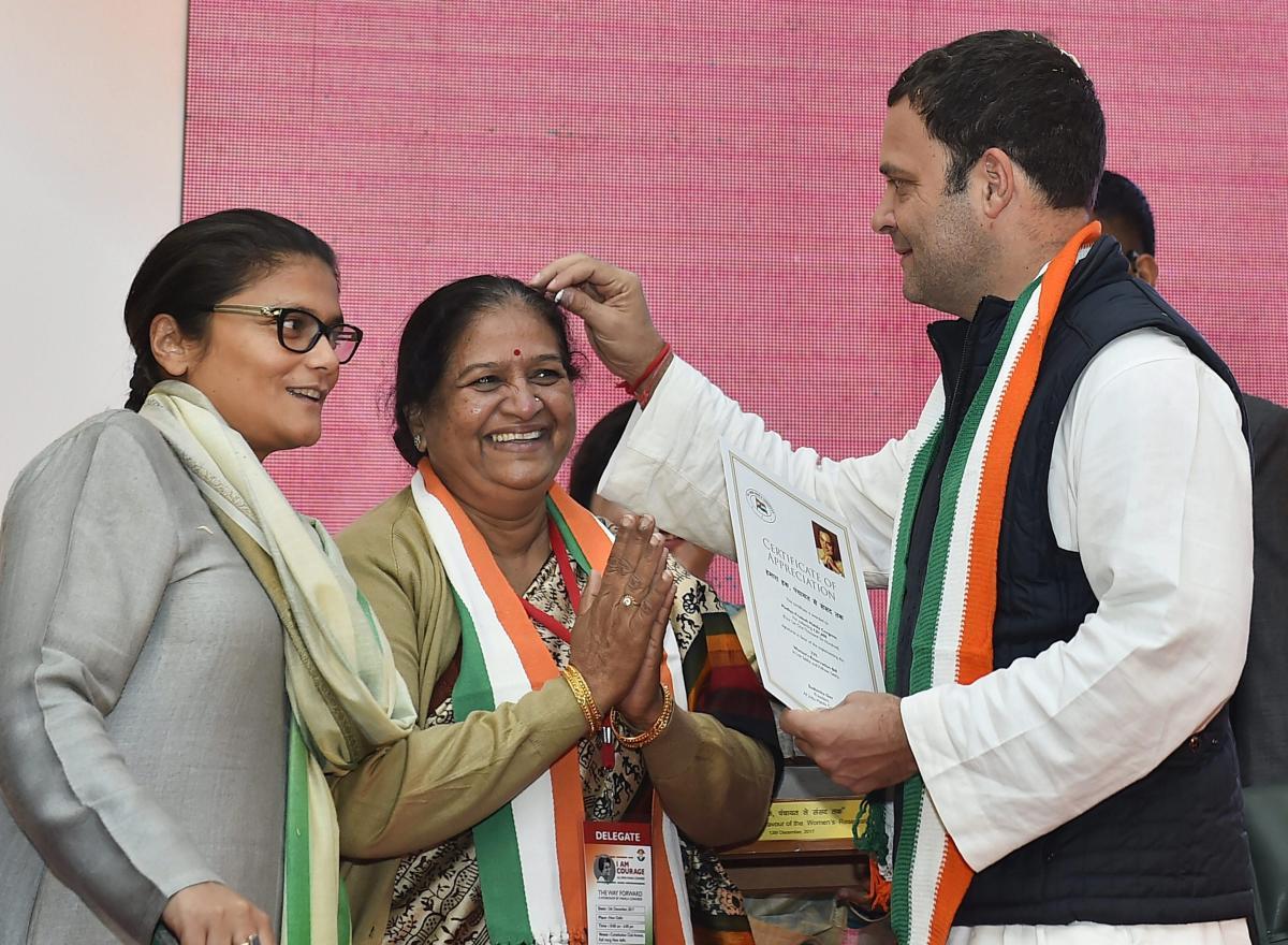 Congress President Rahul Gandhi with Mahila Congress President Sushmita Dev (left). PTI File Photo.