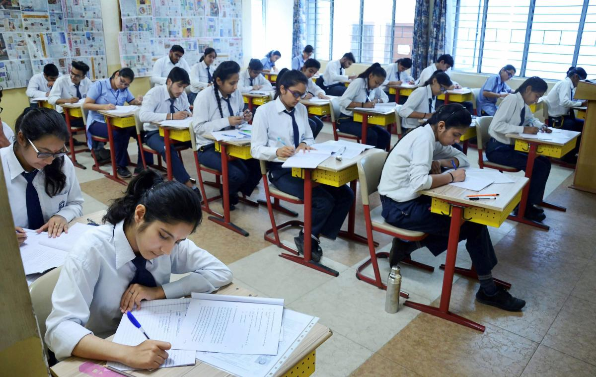 Students write their CBSE board exams, in Gurugram. PTI