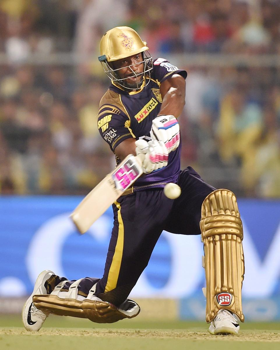 Kolkata Knight Riders' all-rounder Andrew Russell in action during his quick-fire 41 off 12 balls during his side's clash against Delhi Daredevils on Monday. PTI