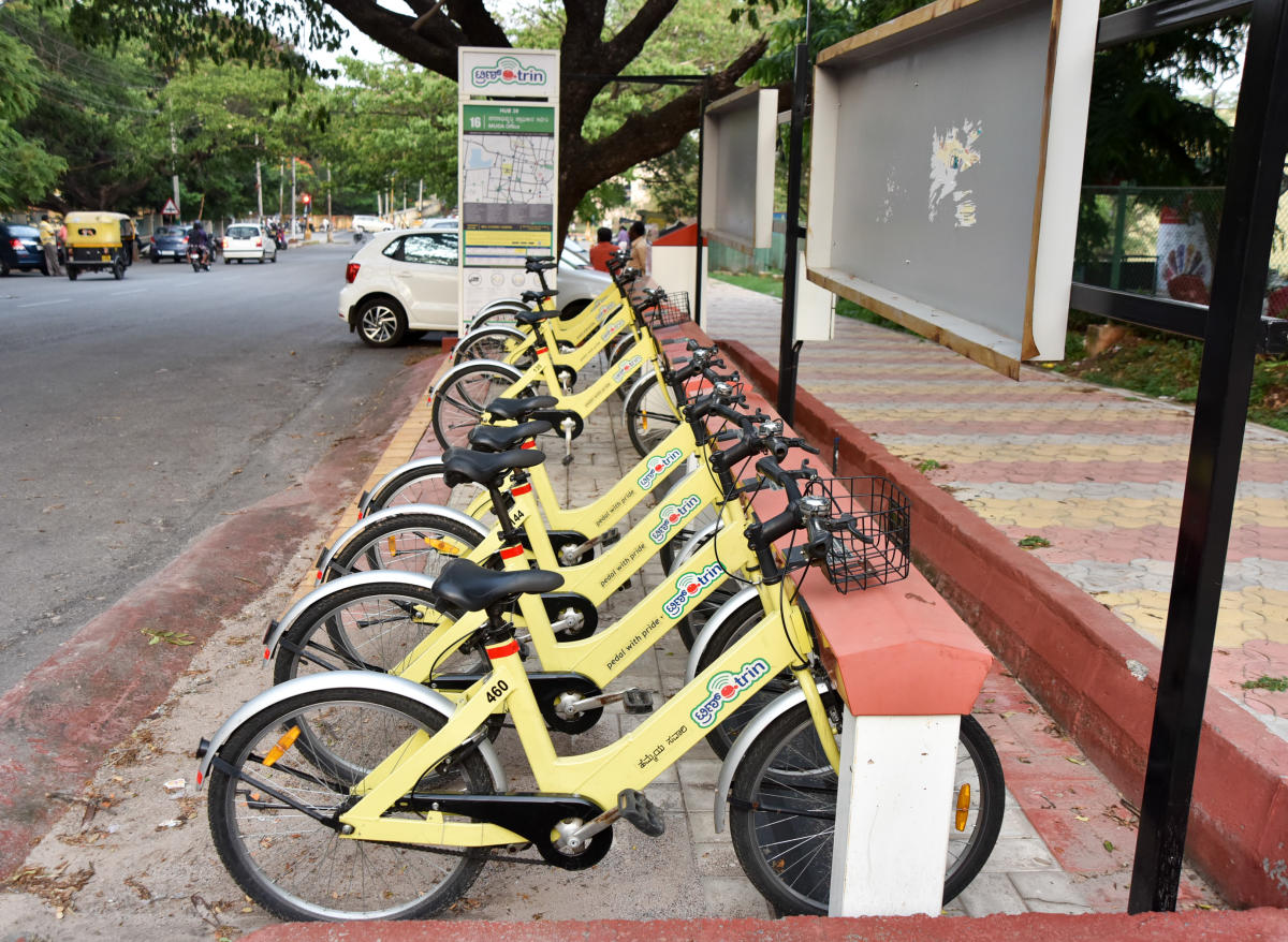 A Trin Trin cycle dock in Mysuru. DH FILE PHOTO