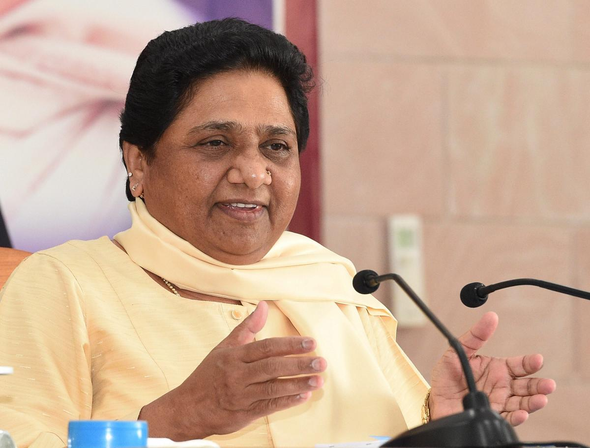 BSP supremo Mayawati addresses the party workers during the National Executive Meeting at party office in Lucknow on Saturday. (PTI photo)