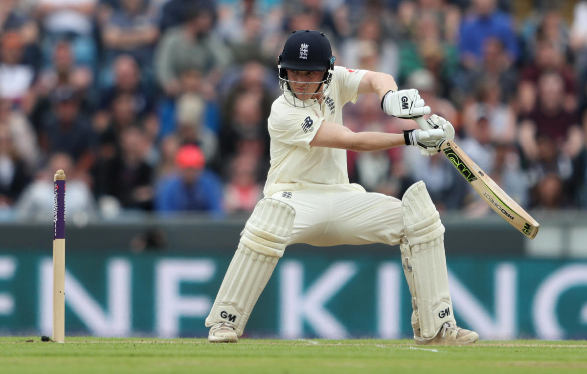 FETCH THAT! England's Dom Bess cuts one to the boundary on the second day of the second Test. Reuters
