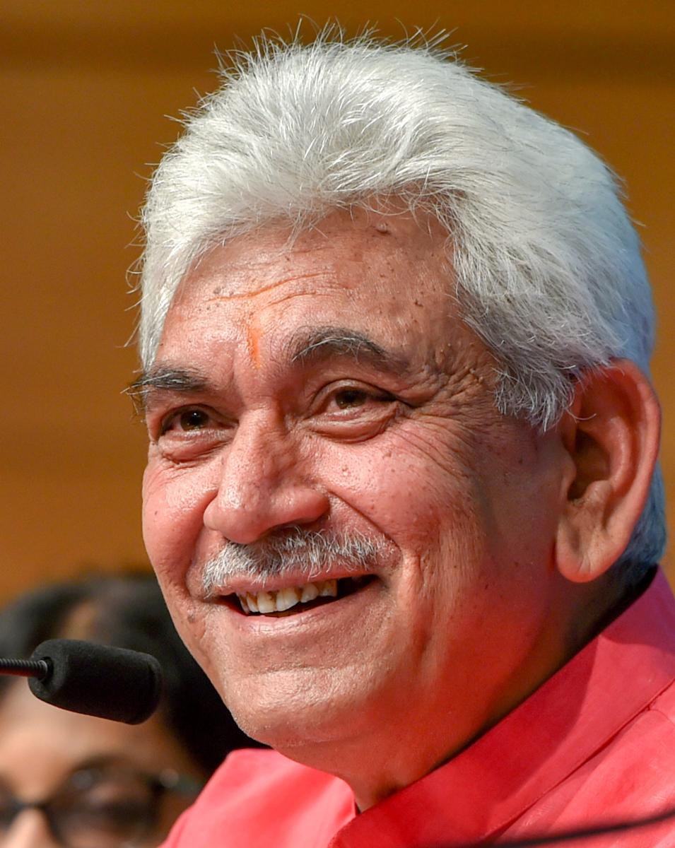 New Delhi: Telecom Minister Manoj Sinha addresses a press conference regarding the achievements of his ministry in the four years of NDA government, in New Delhi on Tuesday, June 12, 2018. (PTI Photo/Shahbaz Khan) (PTI6_12_2018_000070B)
