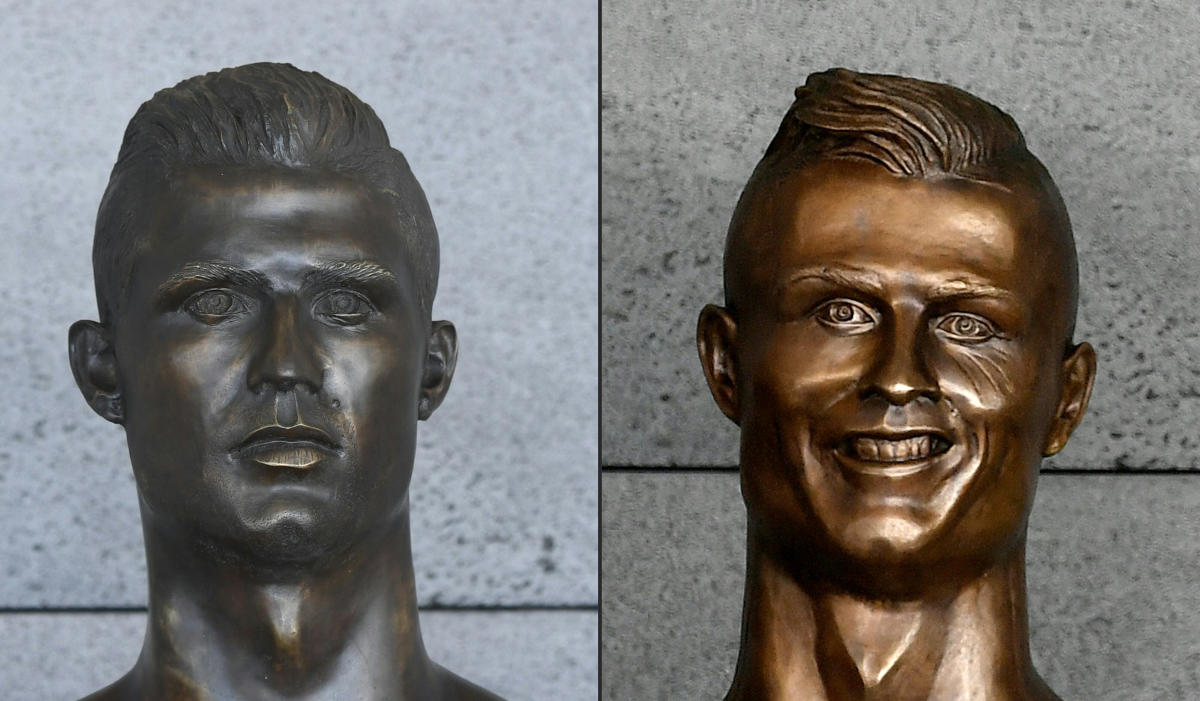 NEW AND OLD: The controversial bronze bust of Cristiano Ronaldo (right) at the Madeira airport was replaced. (AFP Photo)
