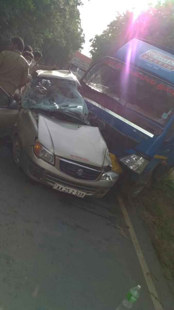 Three people were killed in a head-on collision between a car and a truck in Chikkamavanahalli village, Yellapur taluk on Tuesday morning.