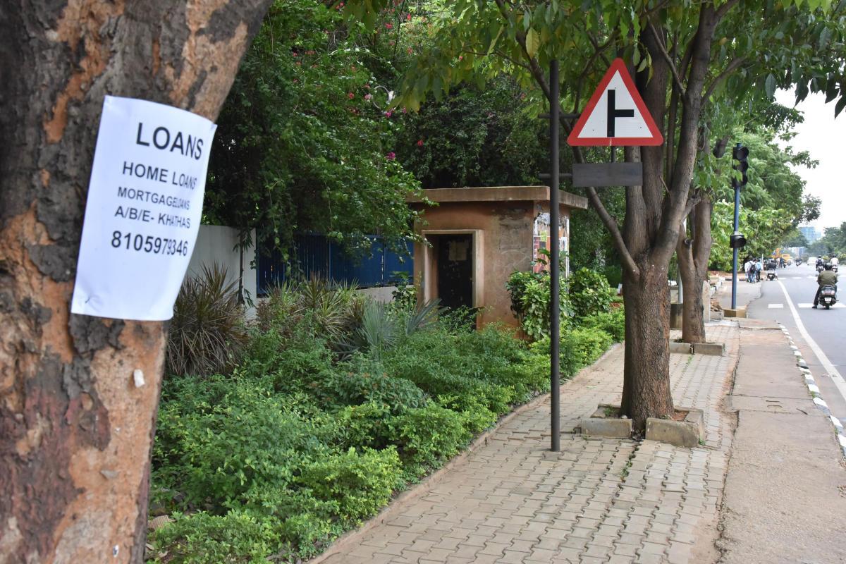 For DH Metro story of Pamphlet sticks on tree on Doddabalapura road in Bengaluru on Monday July 16th 2018. Photo by Janardhan B K