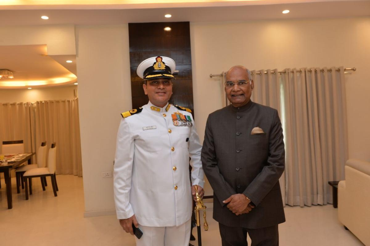Admiral I B Uttaiah, who took over as the Rear Admiral of Indian Navy, stands next to President Ram Nath Kovind.