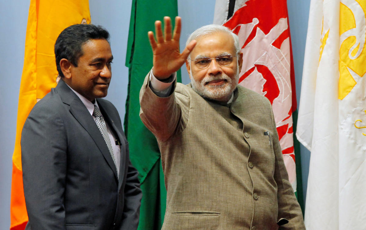 India's Prime Minister Narendra Modi and Maldives President Abdulla Yameen. Reuters file photo