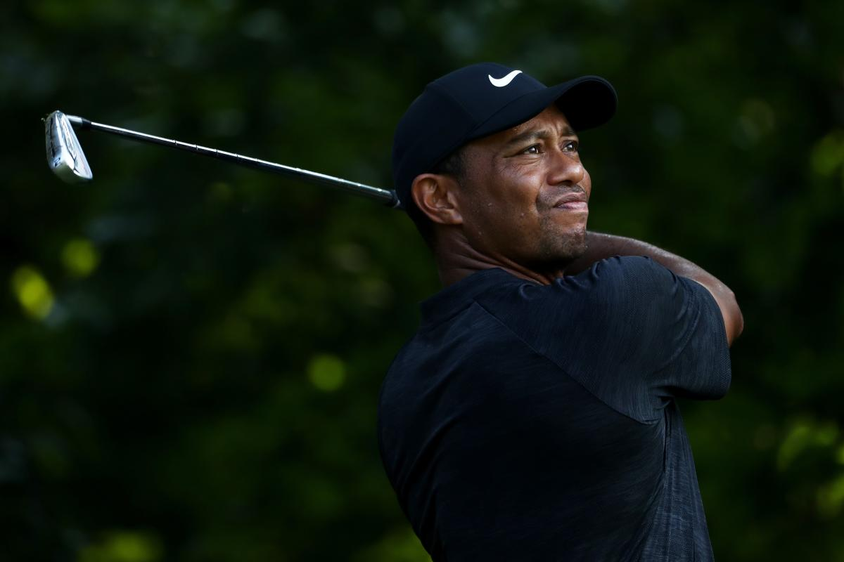 Tiger Woods of the US tees off from 14th hole during the second round of the PGA Championship on Saturday. AFP