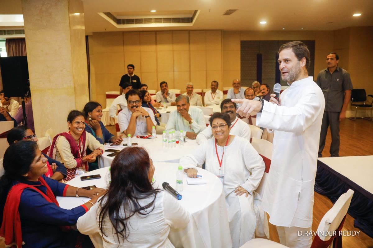 Congress president Rahul Gandhi interacts with editors and senior journalists in Hyderabad on Tuesday.