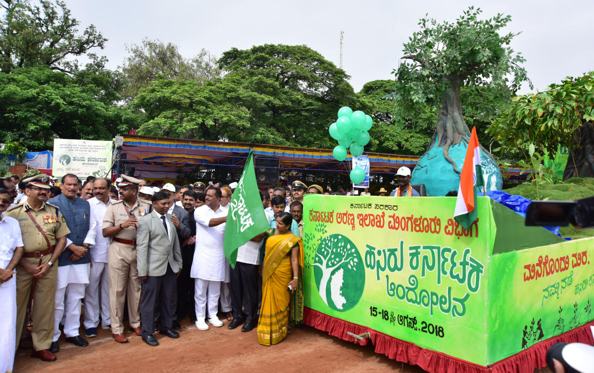 District In-charge Minister U T Khader flags off Hasiru Karnataka, the greencampaign project, during Independence Day programme in Mangaluru on Wednesday.