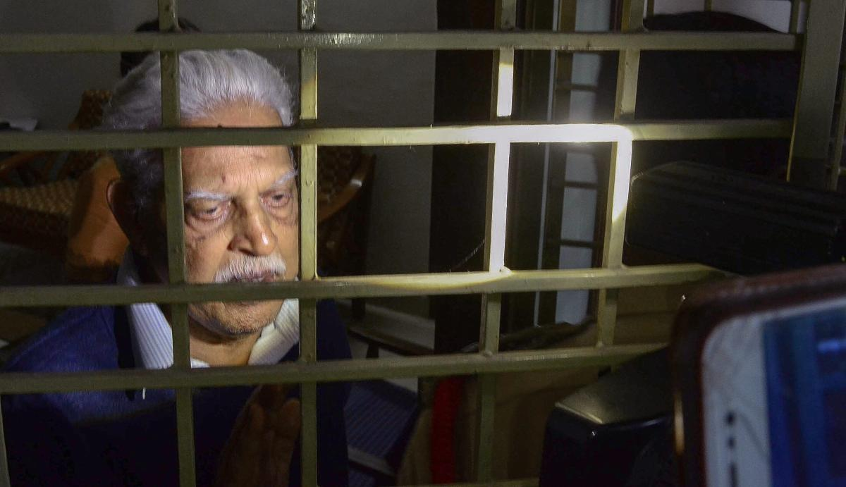 Poet-Social activist Varavara Rao as he returns home to be placed under house arrest, in Hyderabad on Thursday, Aug 30, 2018. (PTI File Photo)