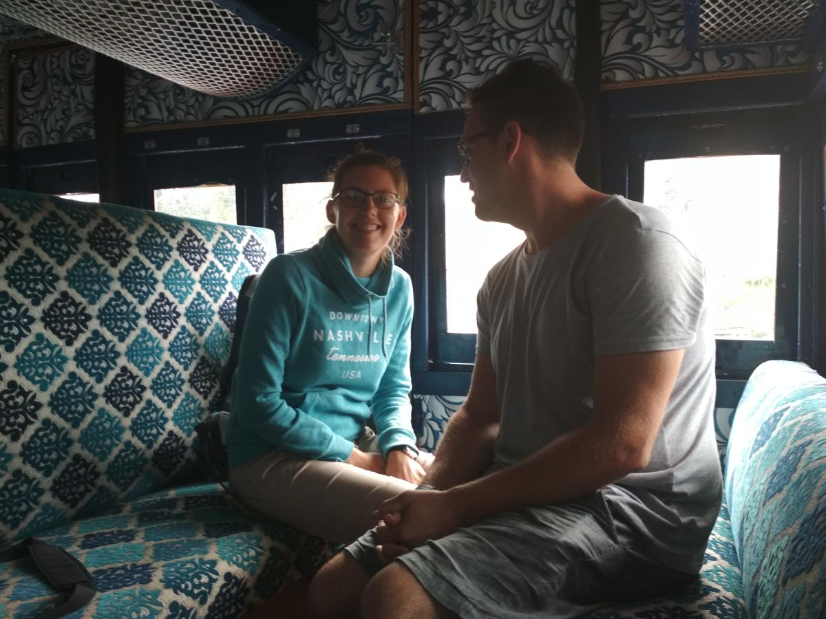 Graham William and Silviya Plasic inside the Nilgiri Moutain Railway train on Friday.