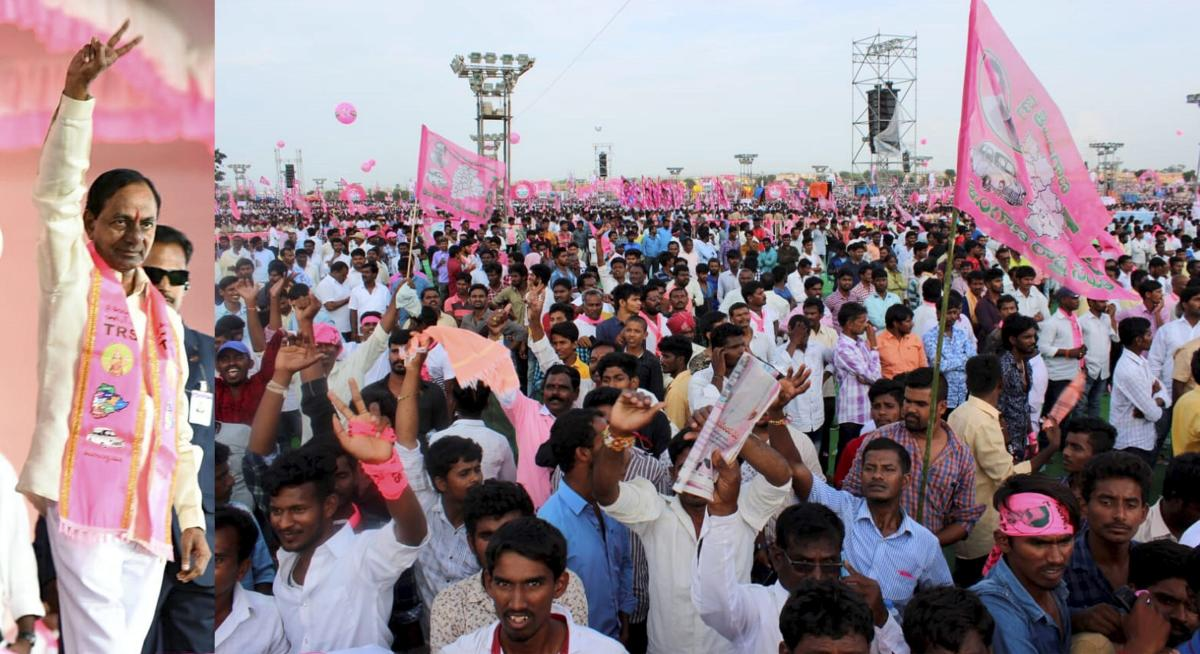 Telangana Chief Minister K Chandrasekhar Rao (L) shows victory sign at a public rally at Pragati Nivedana Sabha in Kongara Kalan, Telangana. PTI file photos
